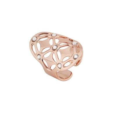 Anello placcato oro rosa con base ovale e Swarovski