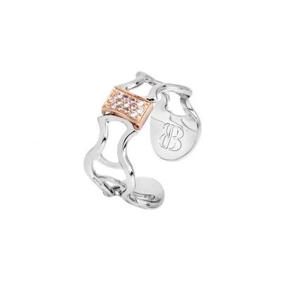 Anello con texture in basso rilievo e nodo placcato oro rosa con zirconi