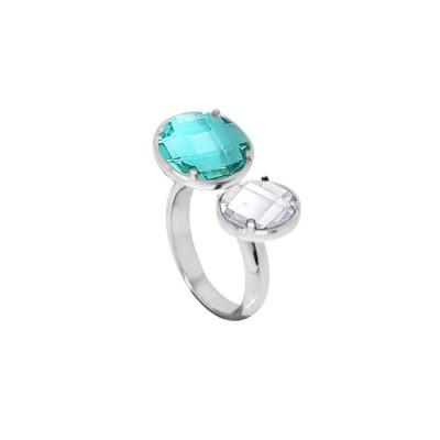 Anello aperto con cristalli verde acqua e crystal