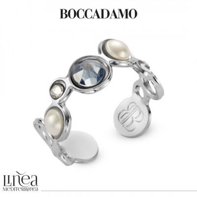 Anello con Swarovski crystal, blue shade e white pearl