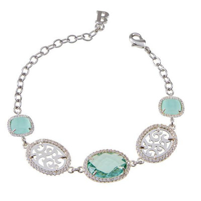 Bracciale con decori arabeschi, zirconi e cristalli briolette colorati