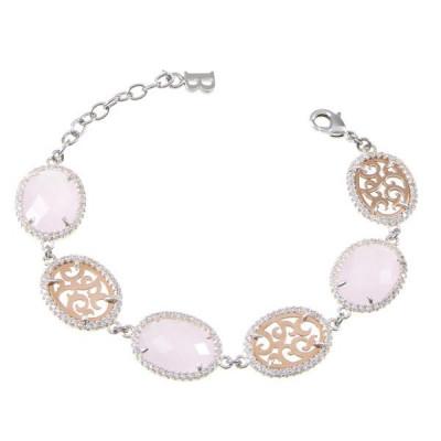 Bracciale semirigido con cristalli briolette rosa e zirconi