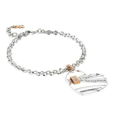 Bracciale doppio filo con pendente a cuore e zirconi