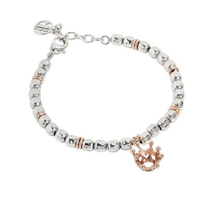 Bracciale beads con corona rosata