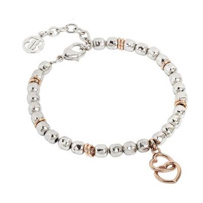 Bracciale beads con due cuori rosati