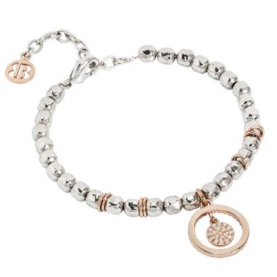 Bracciale beads con cerchio rosato e zirconi