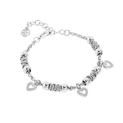 Bracciale beads con cuori zirconati