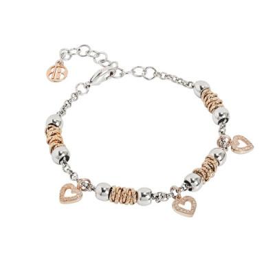 Bracciale beads con cuori rosati di zirconi