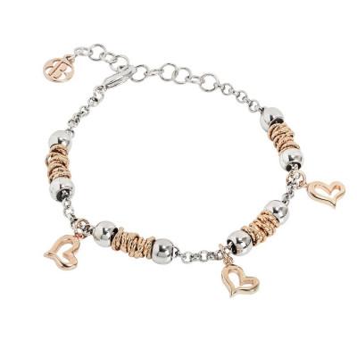 Bracciale beads con cuori rosati