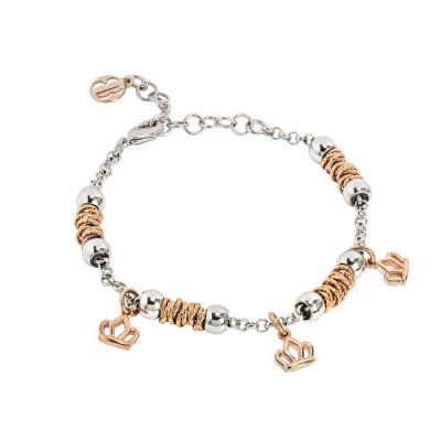 Bracciale beads con corone rosate