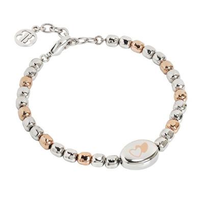 Bracciale beads bicolor con doppio cuore laserato