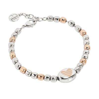 Bracciale beads bicolor con cuore laserato