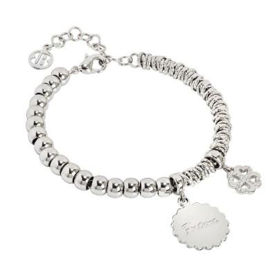 """Bracciale beads con medaglietta """"Fortuna"""" e quadrifoglio  zirconato"""
