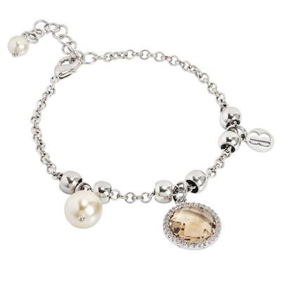 Bracciale con perle Swarovski light gold e cristallo champagne
