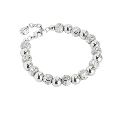 Bracciale con perle rodiate e diamantate dall'effetto a onda