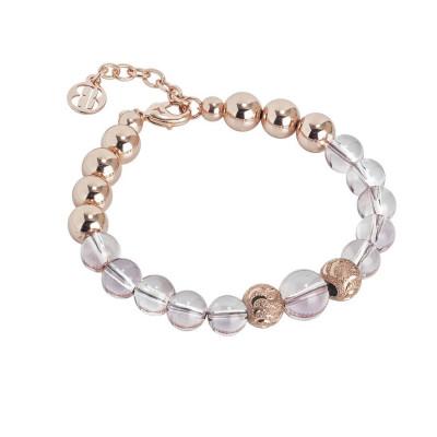 Bracciale rosato con perle Swarovski antique pink