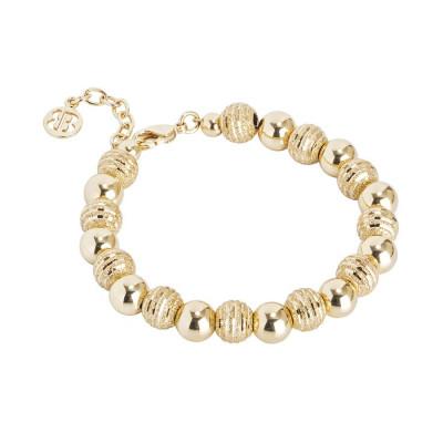 Bracciale dorato con perle lisce e diamantate