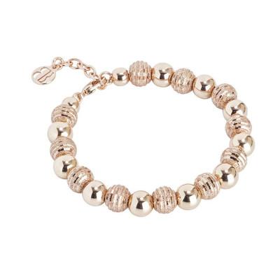 Bracciale rosato con perle lisce e diamantate