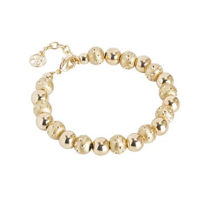Bracciale dorato con sfere lisce e diamantate dall'effetto puntinato