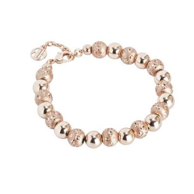 Bracciale rosato con sfere lisce e diamantate dall'effetto puntinato