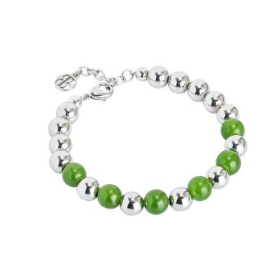 Bracciale rodiato con sfere lisce e agata verde
