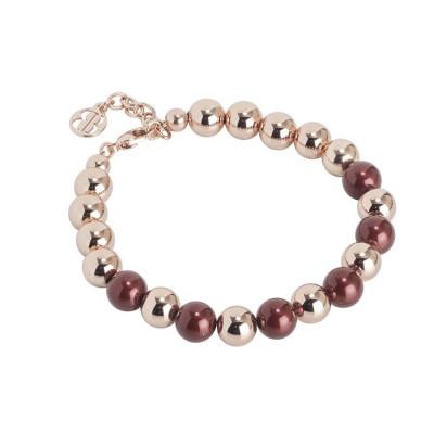 Bracciale rosato con sfere lisce e perle Swarovski burgundi