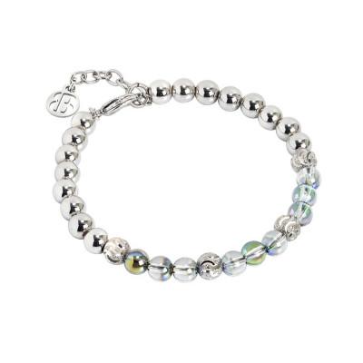 Bracciale con perle Swarovski iridescent green