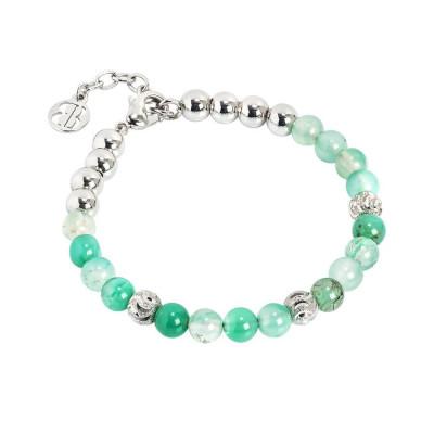 Bracciale con perle di agata mix green