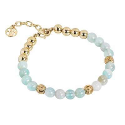 Bracciale con perle di agata celeste