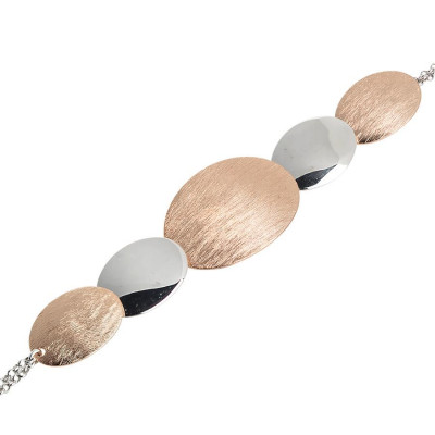 Bracciale bicolor con ovali graffiati e lisci