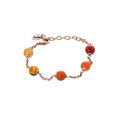 Bracciale rosato con agata orange