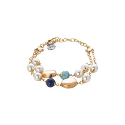 Bracciale doppio filo con perle Swarovski white e agata mix blue