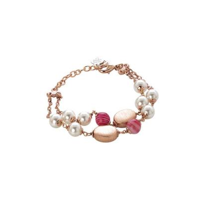 Bracciale doppio filo con perle Swarovski white e agata fucsia