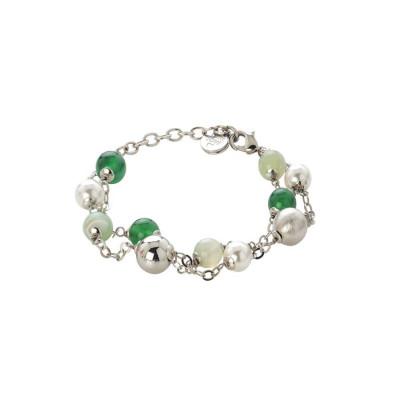 Bracciale con agata green e mix green, perle Swarovski white e sfere graffiate