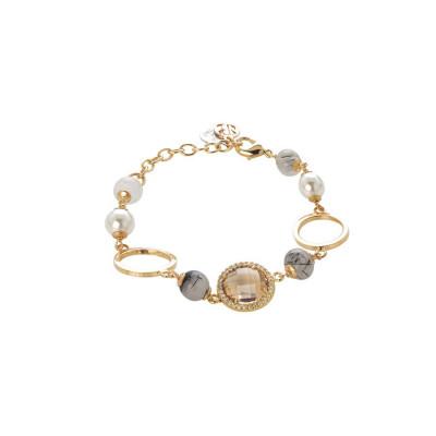 Bracciale dorato con agata grey, perle Swarovski e zirconi