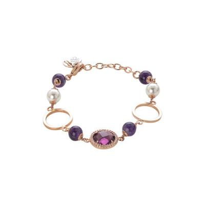Bracciale rosato con ametista, perle Swarovski e zirconi