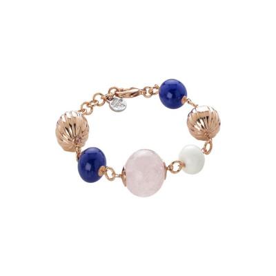 Bracciale con quarzo rosa, agata blue e white