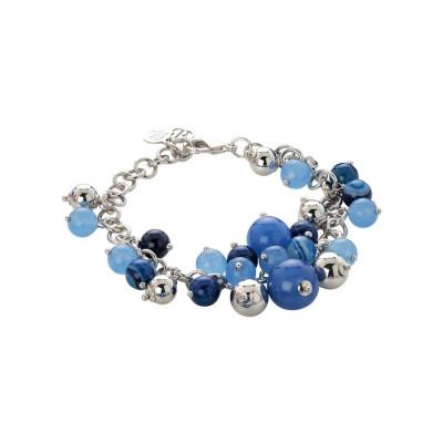 Bracciale con agata light blue, blue e mix blue