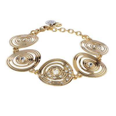 Bracciale semirigido placcato oro giallo con decoro di ispirazione Maya e Swarovski