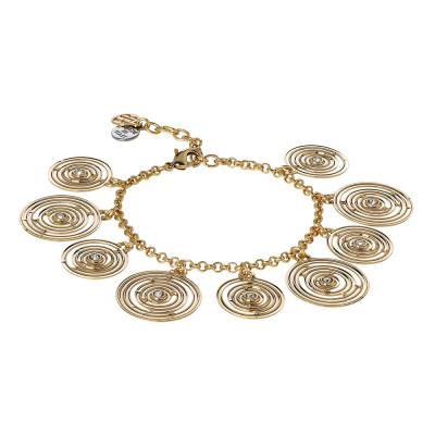 Bracciale placcato oro giallo con charms concentrici e Swarovski