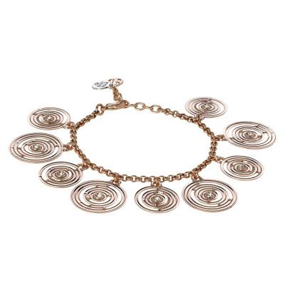 Bracciale placcato oro rosa con charms concentrici e Swarovski