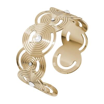 Bracciale rigido a fascia placcato oro giallo con decori di ispirazione Maya e Swarovski