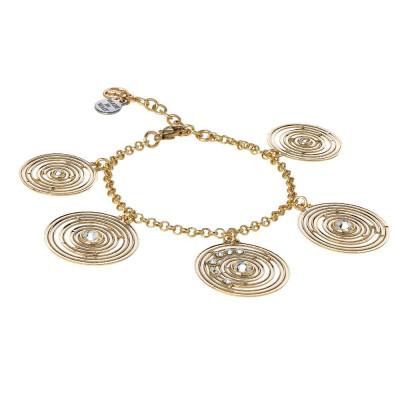 Bracciale placcato oro giallo con pendenti concentrici e Swarovski