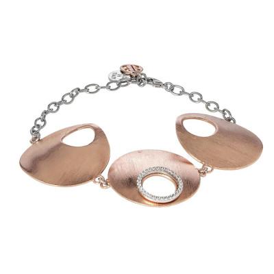 Bracciale placcato oro rosa con centrale semirigido e zirconi