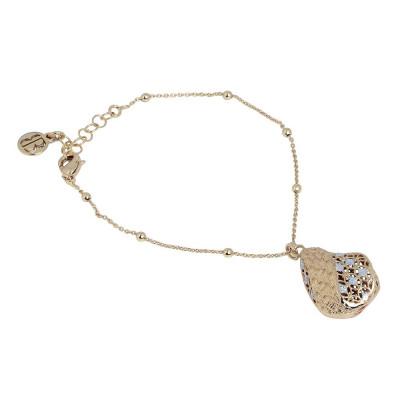 Bracciale placcato oro giallo in elettrofusione con glitter silver