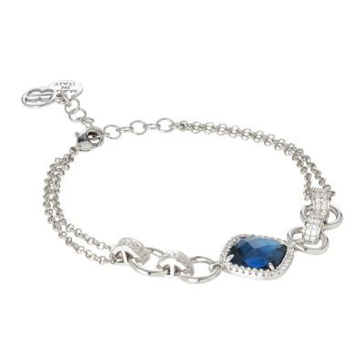 Bracciale doppio filo con cristallo blue montana e zirconi