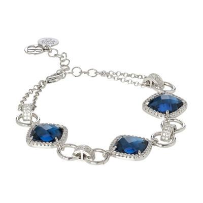 Bracciale modulare con cristalli blue montana e zirconi