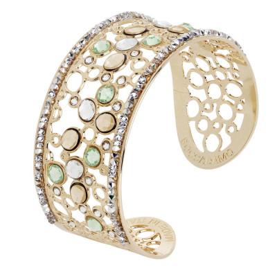 Bracciale a fascia con decoro di Swarovski crystal, chrysolite e gold