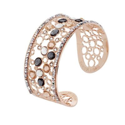 Bracciale a fascia con decoro di Swarovski crystal, peach e silver night