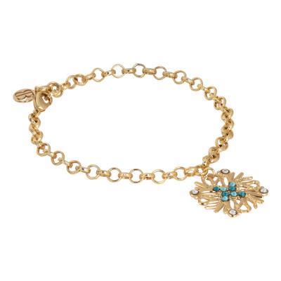 Bracciale placcato oro giallo con charm corallo e Swarovski verde